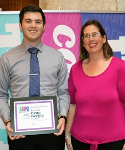 2019 Indiana high school journalist of the year finalist Evan Gerike, Portage HS and IHSPA President April Moss. Photo by Leslie Velez, Pike HS
