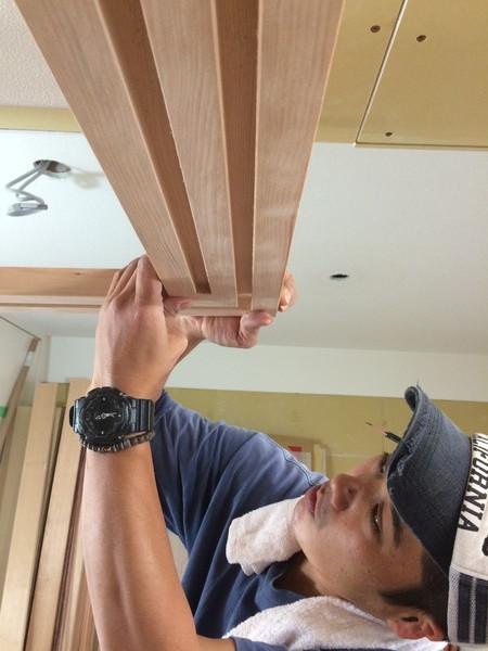 回転引き戸と引込み戸の枠造作(伊丹市 リフォーム)