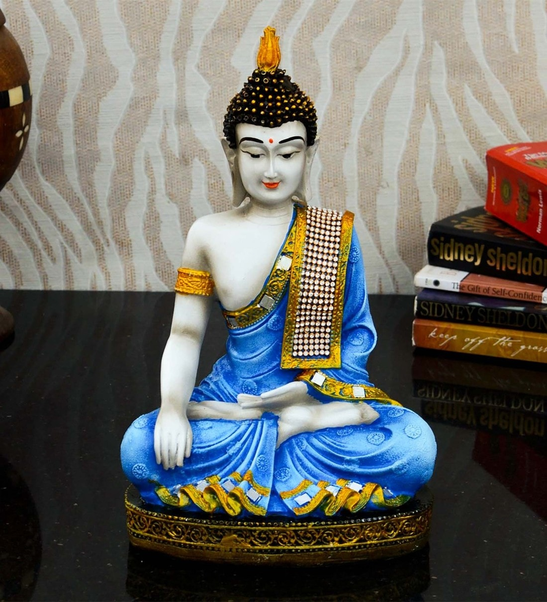 Buy Blue Polyresin Meditating Lord Buddha By Ecraftindia Online Buddha Religious Idols Home Decor Pepperfry Product