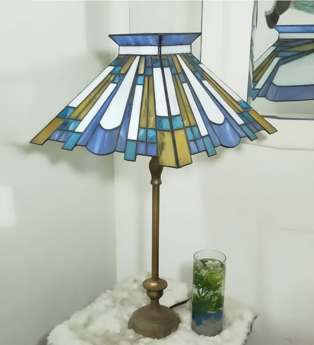 Buy Blue Stained Glass Shade Tiffany Table Lamp With Antique Gold Base By Stg House Online Mid Century Table Lamps Table Lamps Lamps Lighting Pepperfry Product