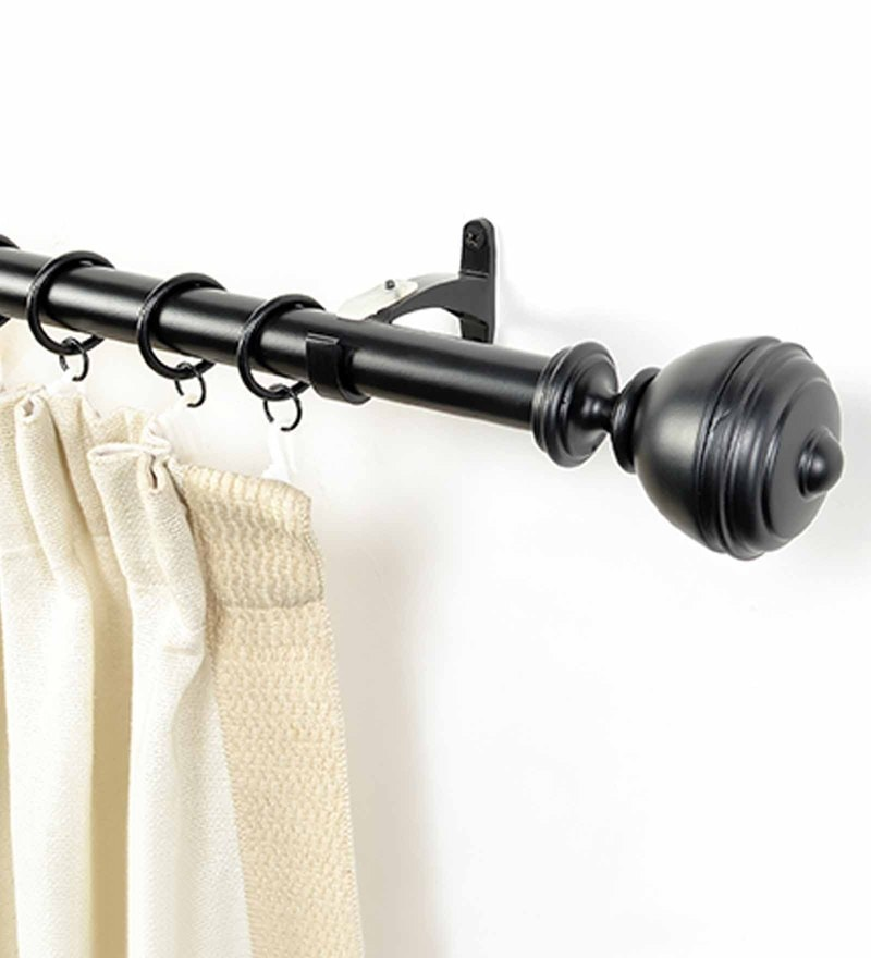 black iron curtain rod 52 144 inches with bracket