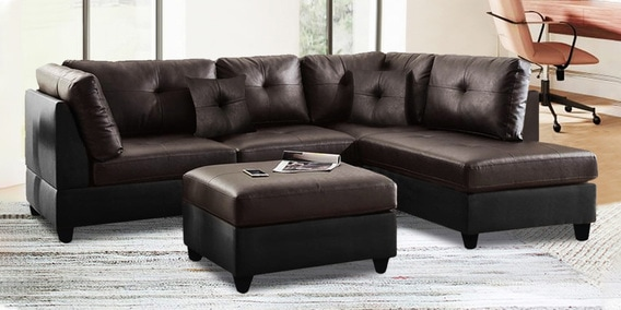brumster 3 seater lhs sectional sofa with ottoman in brown black colour