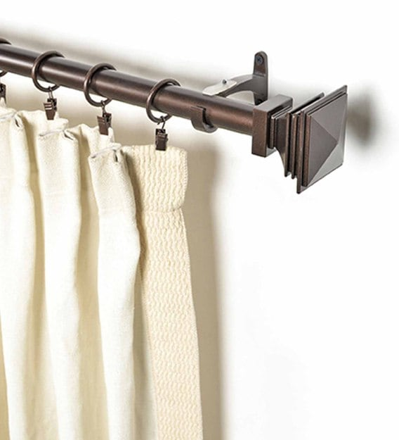 brown iron set of 2 curtain rods 36 66 inches with bracket