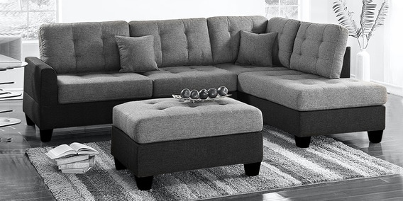 brozvan 3 seater lhs sectional sofa with ottoman in light dark grey colour