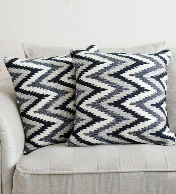 chevron black polycotton 17x17 inch cushion covers set of 2