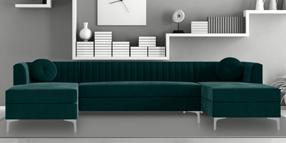 consequential u shape sectional sofa in green colour