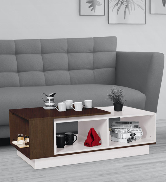 rubix expandable coffee table in brown and white colour