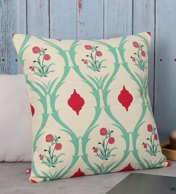 cotton floral pattern 18x18 inch cushion cover