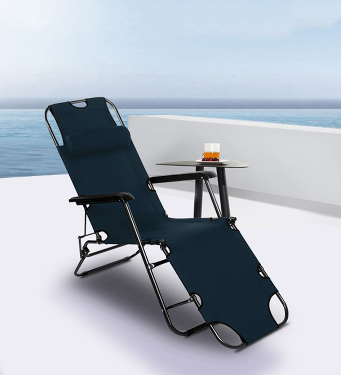 Buy Folding Recliner Beach Lounge Garden Outdoor Portable Chair By Story Home Online Deck Chairs Chairs Furniture Pepperfry Product