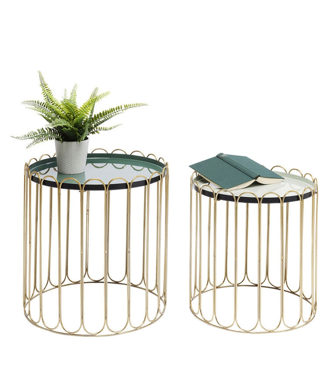 Buy Gironde Round Round Coffee Table Set Of 2 In Golden Finish By Trendy Deco Online Round Coffee Tables Tables Furniture Pepperfry Product