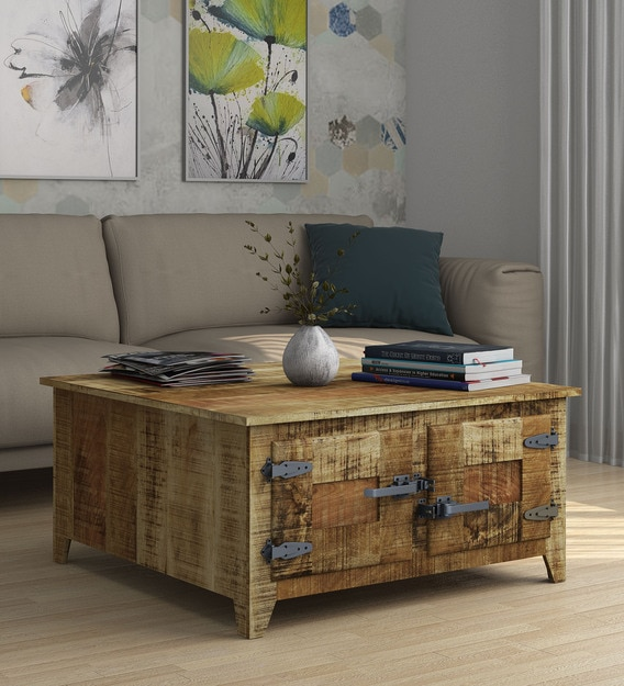 grayson solid wood coffee table with storage
