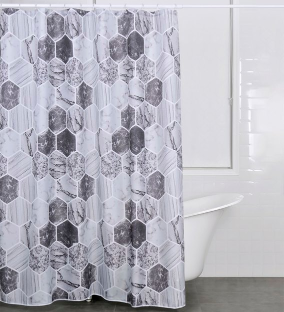 grey polyester shower curtain