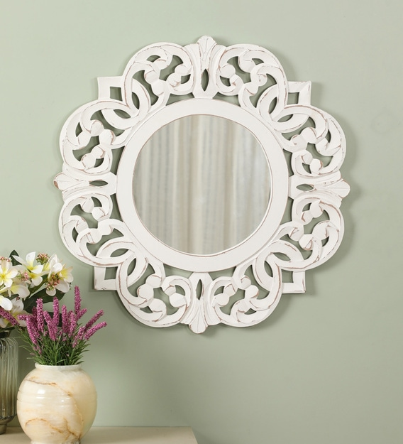 Buy Wooden Abstract Wall Mirror In White Colour By Cocovey Online Abstract Shaped Mirrors Wall Accents Home Decor Pepperfry Product