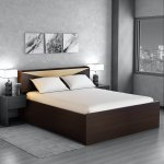 Buy Hiroki Queen Size Bed With Headboard Storage In Walnut Finish Mintwud By Pepperfry Online Modern Queen Size Beds Beds Furniture Pepperfry Product
