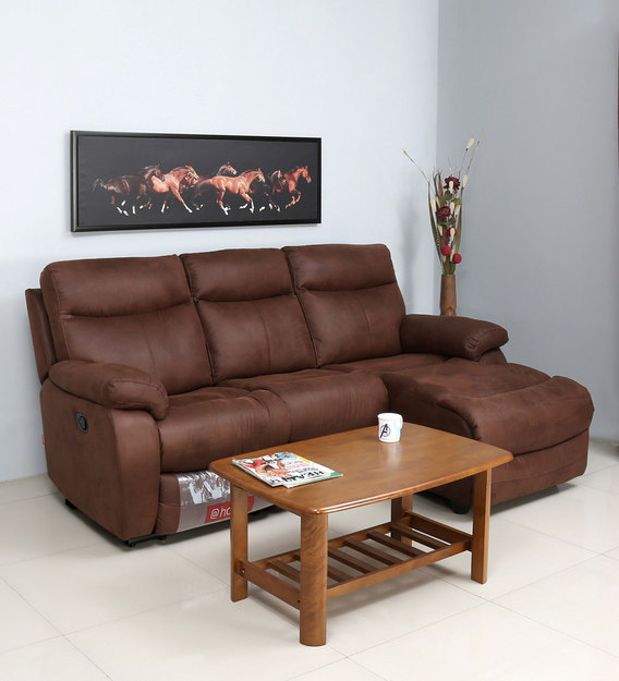hipster 3 seater lounger sofa with one manual recliner in chocolate colour