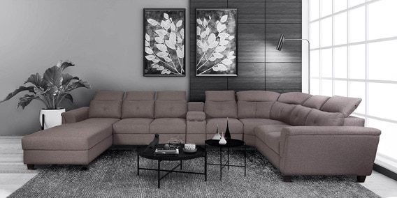 impero u shape sofa with adjustable headrest in sandy brown colour