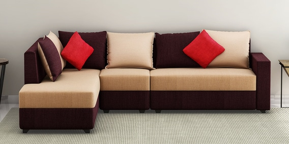 jordan rhs sectional sofa with pouffe in beige and brown colour
