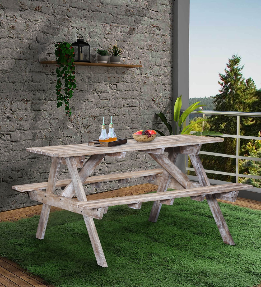 lomira solid wood 4 seater patio dining set in distress finish