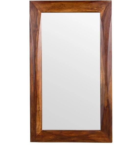 luna rectangular wall mirror in solid wood frame