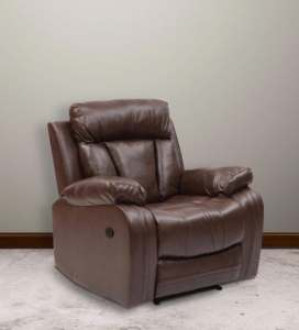 Buy Magna One Seater Manual Recliner Sofa in Dark Brown Leatherette     Magna One Seater Manual Recliner Sofa in Dark Brown Leatherette by Evok