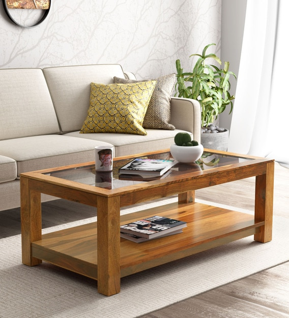 mckaine solid wood coffee table with glass top in rustic teak finish