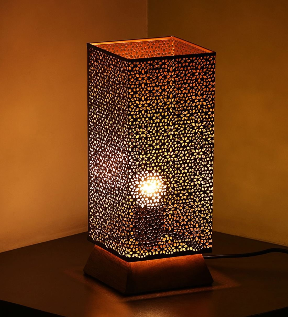 Buy Moroccan Shimmer Black Fabric Shade Table Lamp With Light Brown Base By Exclusivelane Online Traditional Table Lamps Table Lamps Lamps Lighting Pepperfry Product