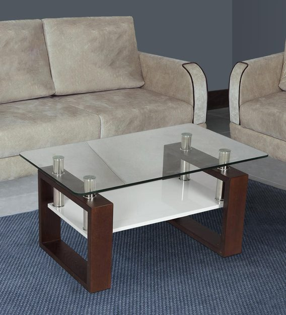 modern glass top center table in brown