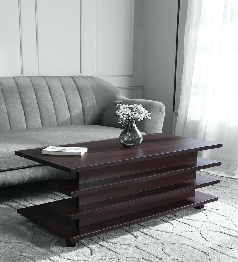 movable large size coffee table in dark walnut colour