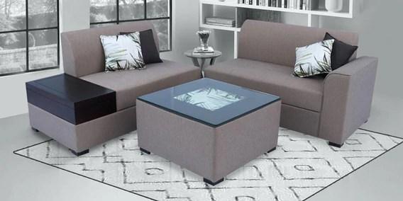 nanaimo corner sofa with coffee table in brown colour