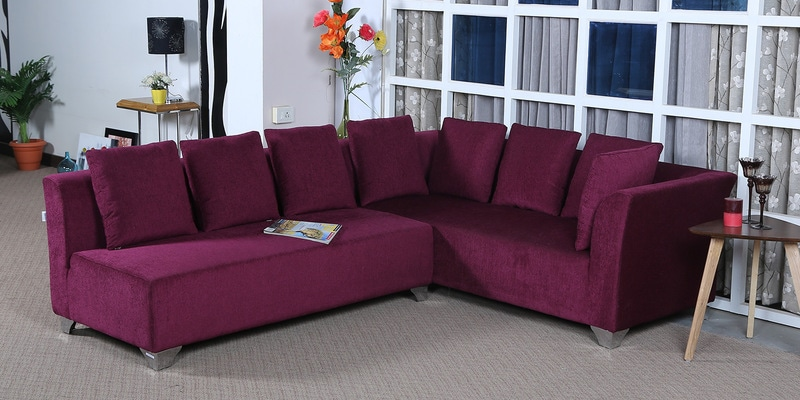 Buy Naples L Shaped Sofa Set With Cushions In Purple