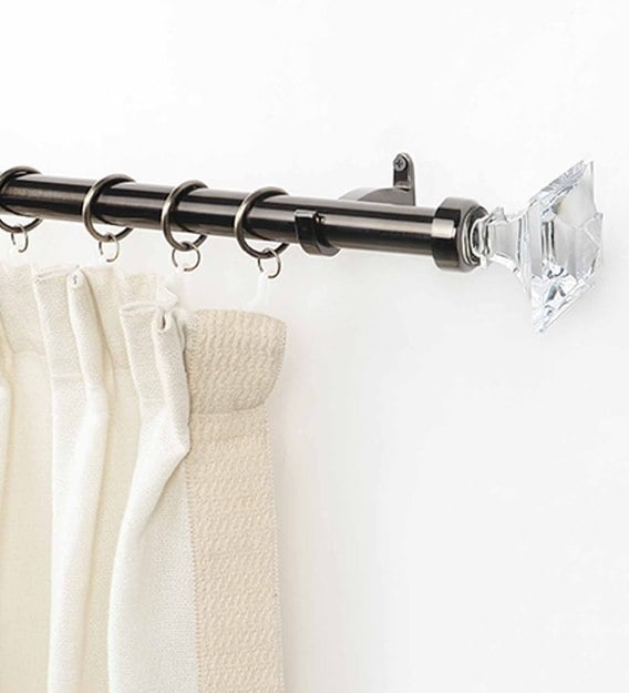 nickel grey stainless steel curtain rod 52 144 inches with bracket
