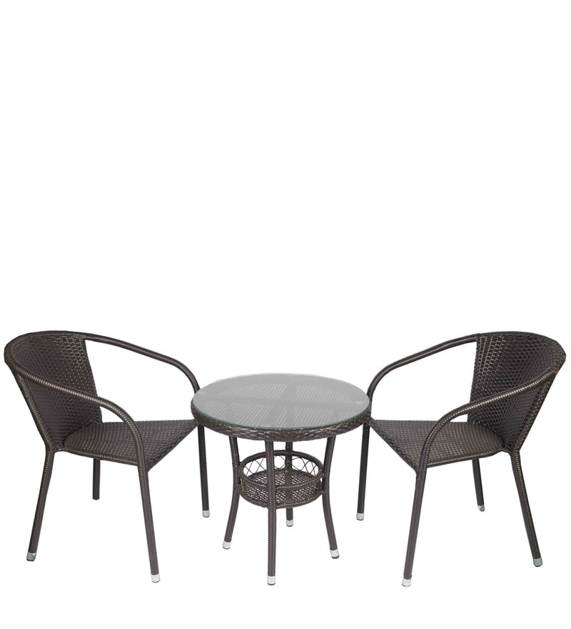 outdoor coffee table with two chairs in dark brown colour