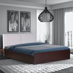 Buy Qunitino King Size Bed With Upholstered Headboard In Walnut Finish By Casacraft Online Modern King Size Beds Beds Furniture Pepperfry Product