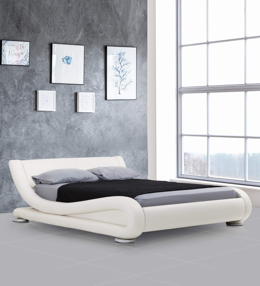 Buy Savvy Queen Size Upholstered Bed In White Colour By Dreamzz Furniture Online Queen Size Upholstered Beds Beds Furniture Pepperfry Product