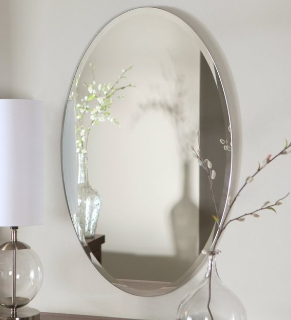Buy Glass Oval Wall Mirror In Silver Colour By Elegant Arts Frames Online Oval Mirrors Wall Accents Home Decor Pepperfry Product