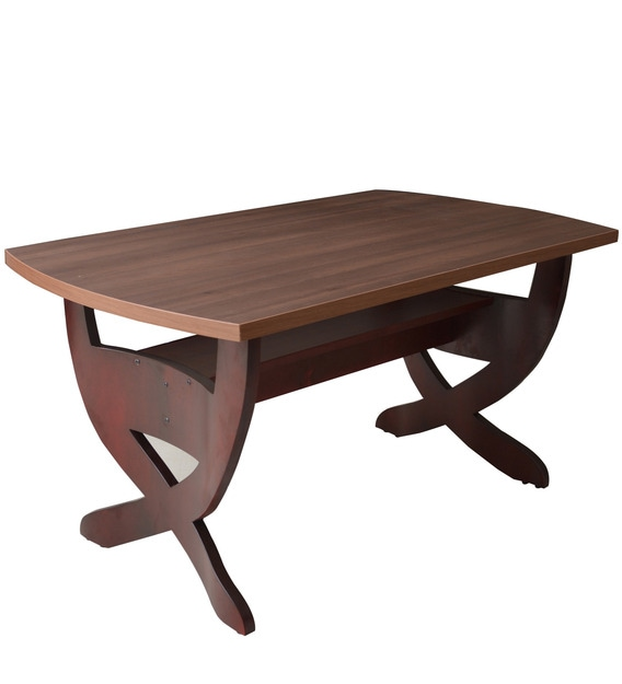 six seater dining table with plywood top in rosewood walnut colour