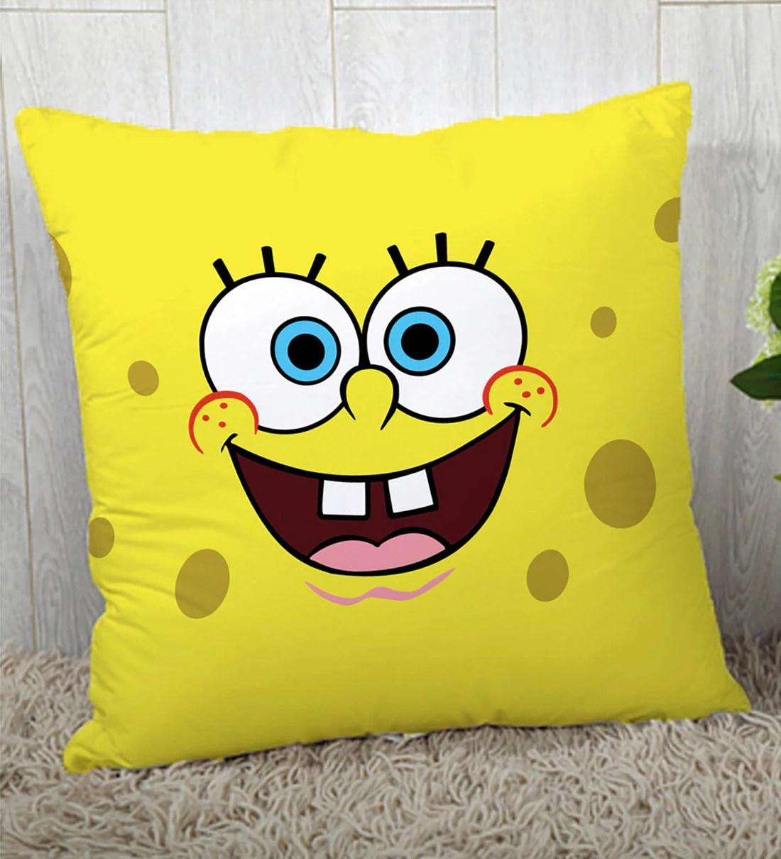 spongebob silk cushion cover in yellow colour