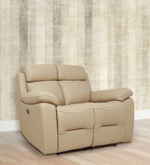 Two Seater Motorized Recliner Sofa In Half Leather Peanut Colour With Two  Seater Reclining Sofa