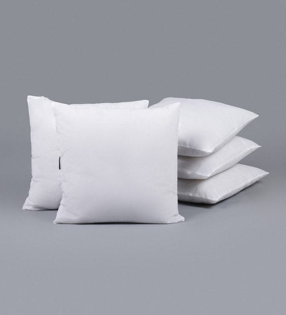 white microfiber filled 24x24 inches cushion inserts set of 5