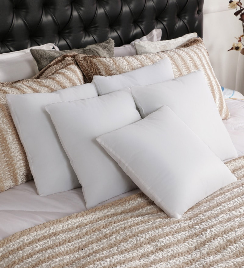 white microfiber filled 16x16 inches cushion inserts set of 5