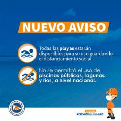 Poster of the Dominican government states in Spanish language that people travelling to the Dominican Republic can expect that beaches are open.
