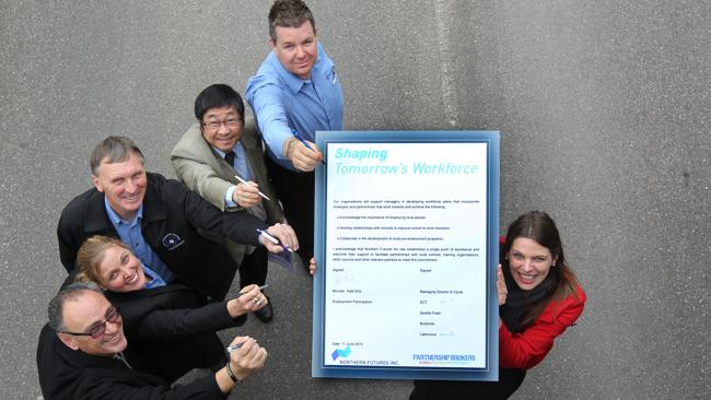 IIFP are Pledge partners: Kate Ellis, right, with business people from top to bottom: Warren Tudor, Peng Choo, Warren Meissner, Karen Prevost and Bogdan Vasiljevic. Source: News Limited