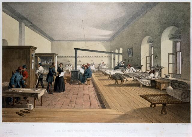 Crimean War: Florence Nightingale at Scutari Hospital. Coloured lithograph by E. Walker, 1856, after W. Simpson.
