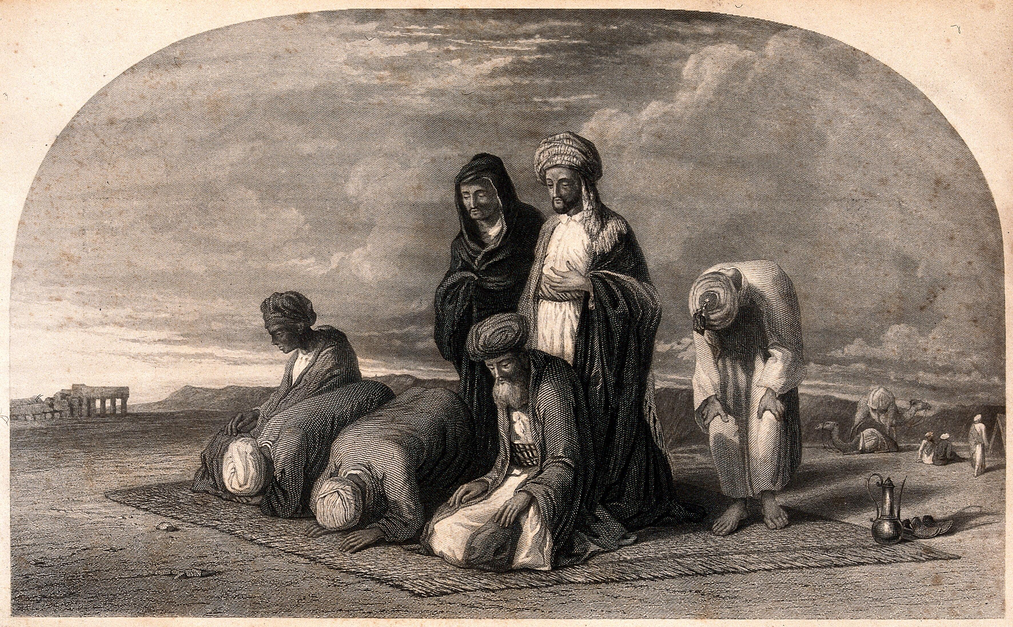 Muslims Praying To Mecca Engraving Wellcome Collection