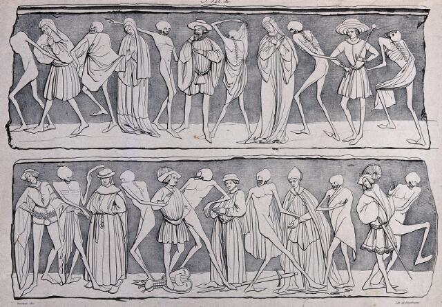 This lithograph is a copy of a fresco in the Benedictine abbey La Chaise Dieu in Auvergne in the south of France. It was painted by an unknown master between 1390 and 1410. The fresco covered three walls of the church and depicted a continuous chain of dancers, both dead and alive. In this early example of the dance of death, the skeletons do not yet depict a personification of death but rather the dead. Unlike subsequent depictions of this genre, the La Chaise Dieu fresco was not accompanied by a text The topic of the dance of death appeared for the first time in the second half of the fourteenth century and especially in the fifteenth century. From the sixteenth century onwards, images of this genre became more frequent but they do not necessarily depict an entire dance of death as depictions may be broken up into groups. Originally, these chains of dancers were painted as frescos in cloisters and on the walls of churchyards. The early depictions of the dance of death which were mostly commissioned by the Catholic Church, had a specific purpose: the viewers of these images were to be reminded of the transience of life, the uncertainty of the hour of death and the relentlessness of death. Death does not distinguish between class, profession, age or gender but equalizes everyone.