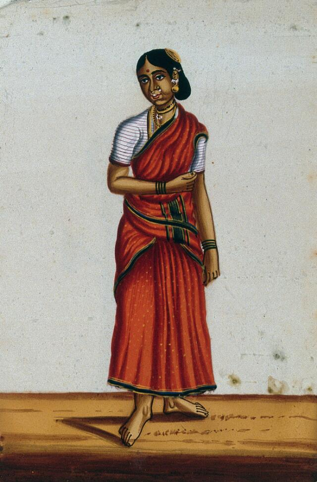A woman wearing a red sari. Gouache painting on mica, by an Indian artist.