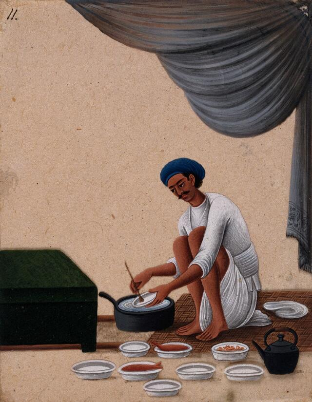 A man washing dishes. Gouache painting on mica by an Indian artist.