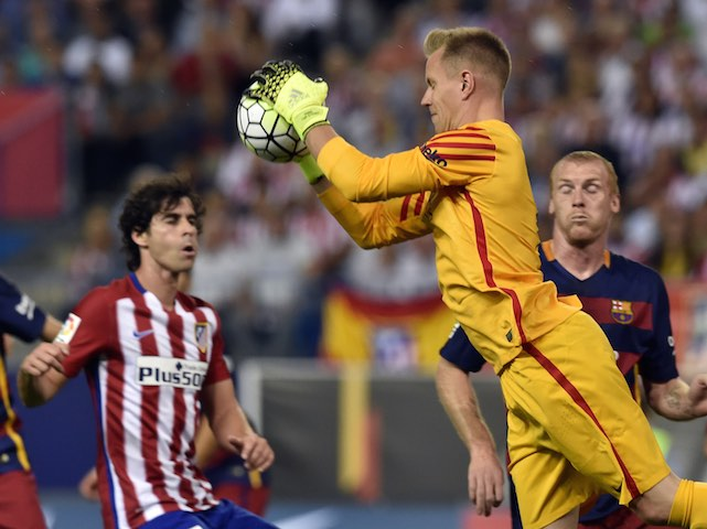 Barcelona's German goalkeeper Marc-Andre Ter Stegen catches the ball during the Spanish league football match Club Atletico de Madrid vs FC Barcelona at the Vicente Calderon stadium in Madrid on September 12, 2015.   AFP PHOTO/ GERARD JULIEN        (Photo credit should read GERARD JULIEN/AFP/Getty Images)