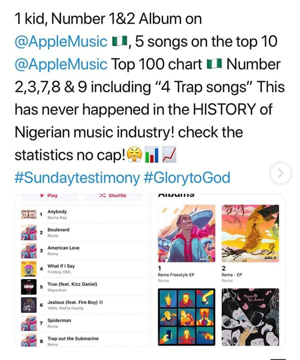 Rema Is First Nigerian Artist To Debut 5 TOP Songs On Apple