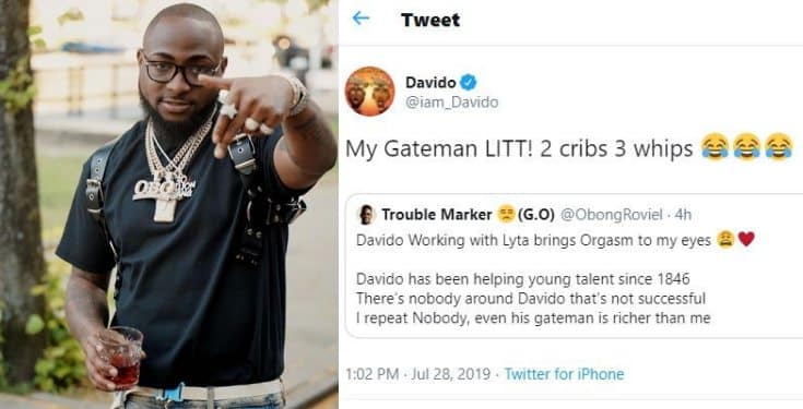 Davido Claims His Gate-man Has 'Two Houses And Three Cars